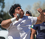 Reno's Siaosi Finau competes in the boys shot put during the Reed Sparks Rotary Invitational track and field event at Reed High School in Sparks, Saturday, April 1, 2017.
