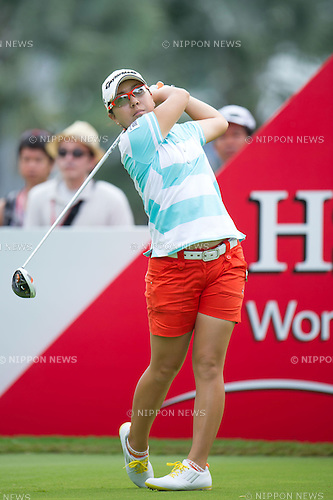 Mika Miyazato (JPN),.MARCH 3, 2013 - Golf :.Mika Miyazato of Japan tees off during the final round of the the HSBC Women's Champions golf tournament at Sentosa Golf Club in Singapore. (Photo by Haruhiko Otsuka/AFLO)
