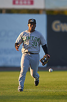 Clinton LumberKings outfielder Arby Fields (31) fields a ground ball during a game against the Burlington Bees on August 20, 2015 at Community Field in Burlington, Iowa.  Burlington defeated Clinton 3-2.  (Mike Janes/Four Seam Images)