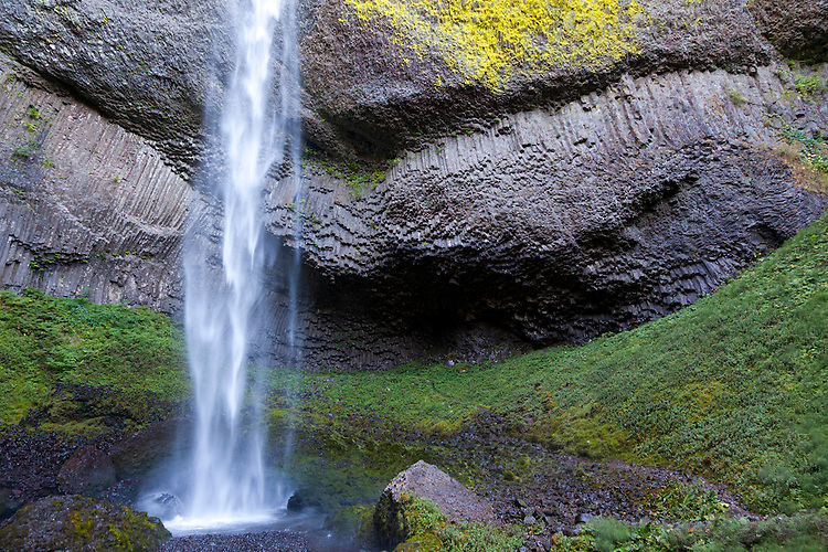 Latourell Falls in the Columbia River Gorge, along the scenic Highway. Latourell Falls is a waterfall along the Columbia River Gorge in Oregon, within Guy W. Talbot State Park. The Historic Columbia River Highway passes nearby, and at certain locations the Lower falls are visible from the road.