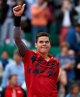 France, Paris, 01.06.2014. Tennis, French Open,Roland Garros,  Milos Raonic (CAN) celebrates after defeating Marcel Granollers (ESP)<br /> Photo:Tennisimages/Henk Koster