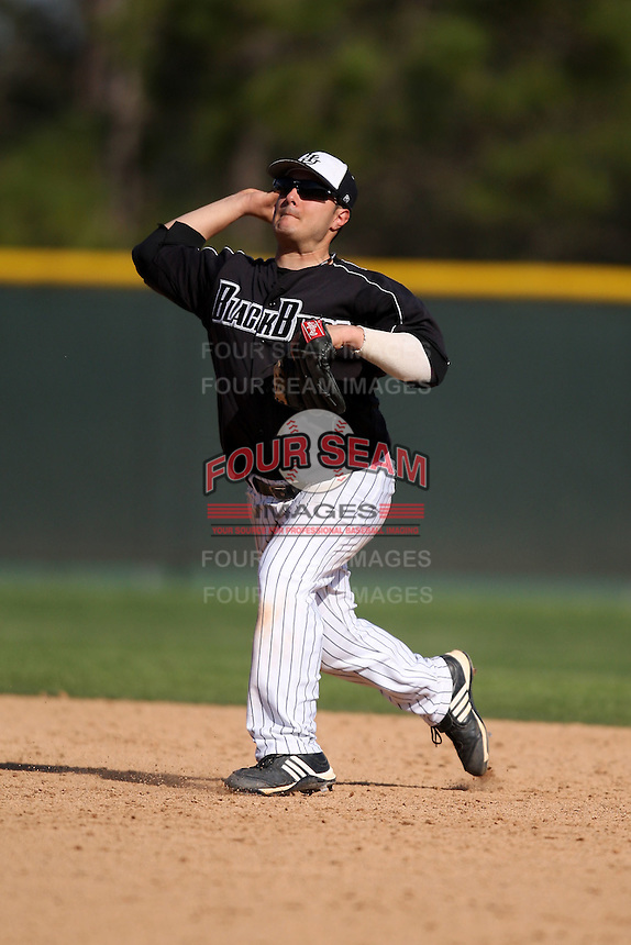March 13, 2010:  Second Baseman Gerard Tingos (5) of Long Island University Blackbirds in a game vs. Army at Henley Field in Lakeland, FL.  Photo By Mike Janes/Four Seam Images