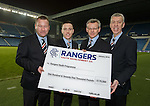 Craig Mulholland, Barrie McKay, Stewart Robertson and Colin Stewart as the Rangers Youth Development Co hands over a cheque for £175,000