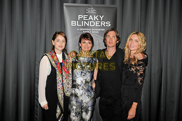 Sophie Rundle, Helen McCrory, Cillian Murphy &amp; Annabelle Wallis<br /> The UK premiere of 'Peaky Blinders', BFI Southbank, Waterloo, London, England. 21st August 2013<br /> half length black white blue pattern sleeveless jumpsuit red floral print jacket trousers lace dress jeans denim<br /> CAP/MAR<br /> &copy; Martin Harris/Capital Pictures