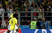 MOSCU - RUSIA, 03-07-2018: Yerry MINA jugador de Colombia celebra después de anotar el primer gol de su equipo a Inglaterra durante partido de octavos de final por la Copa Mundial de la FIFA Rusia 2018 jugado en el estadio del Spartak en Moscú, Rusia. / Yerry MINA player of Colombia celebrates after scoring the  first goal of his team to Inglaterra during match of the round of 16 for the FIFA World Cup Russia 2018 played at Spartak stadium in Moscow, Russia. Photo: VizzorImage / Julian Medina / Cont