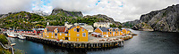 Norway, Lofoten. Nusfjord is an idyllic, small harbor. Panorama.