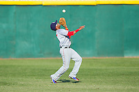 Hagerstown Suns second baseman Willie Medina (17) catches a fly ball in shallow right field during the game against the Hickory Crawdads at L.P. Frans Stadium on May 7, 2014 in Hickory, North Carolina.  The Suns defeated the Crawdads 4-2.  (Brian Westerholt/Four Seam Images)