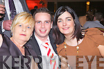 Hannah Marrie Broderick, Michael Brosnan and Tracey Moore pictured  at the Mountcollins/Tournafulla GAA social last Saturday night in The Devon Inn, Templeglantine.