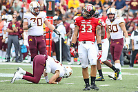 College Park, MD - September 22, 2018:  Maryland Terrapins linebacker Tre Watson (33) celebrates after a sack during the game between Minnesota and Maryland at  Capital One Field at Maryland Stadium in College Park, MD.  (Photo by Elliott Brown/Media Images International)
