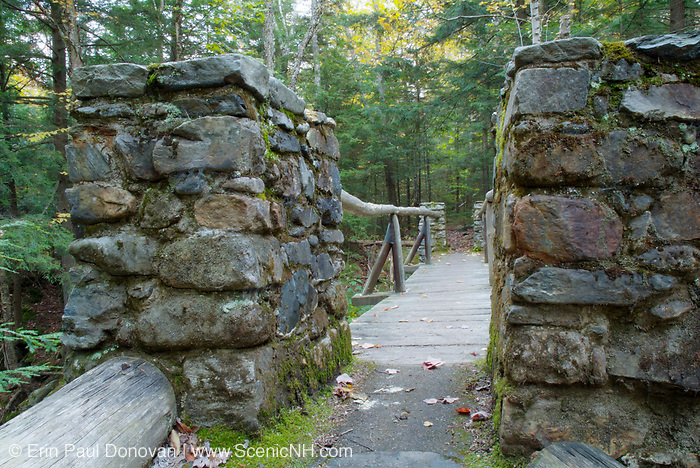 Memorial Bridge, which crosses Cold Brook, along the Link Trail in Randolph, New Hampshire. Built in the 1920s this stone bridge is a dedication to all the early pathmakers.