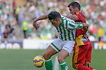 Betis's Bruno (L) and Huelvas Joselu (R) during the match between Real Betis and Recreativo de Huelva day 10 of the spanish Adelante League 2014-2015 014-2015 played at the Benito Villamarin stadium of Seville. (PHOTO: CARLOS BOUZA / BOUZA PRESS / ALTER PHOTOS)