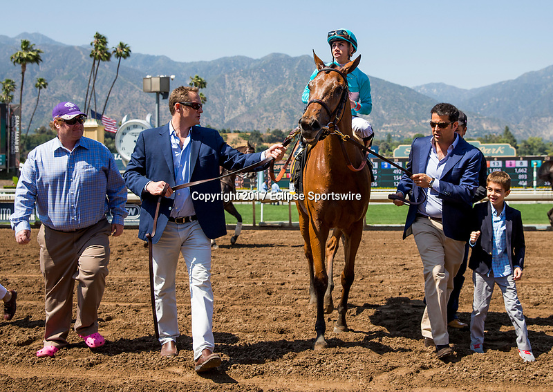 ARCADIA, CA - MAY 27:Lady Eli and Irad Ortiz win the Gamely Stakes at Santa Anita Park  on May 27, 2017 in Arcadia, California. (Photo by Alex Evers/Eclipse Sportswire/Getty Images)