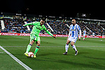 CD Leganes's Martin Braithwaite and Levante UD's Ruben Vezo during La Liga match between CD Leganes and Levante UD at Butarque Stadium in Leganes, Spain. March 04, 2019. (ALTERPHOTOS/A. Perez Meca)