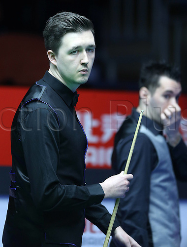 29.03.2016. Beijing, China,  Kyren Wilson of Britain reacts during the match against Tom Ford of Britain at the 2016 World Snooker China Open in Beijing, China, March 29, 2016. xMingming
