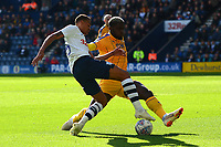 Preston North End's Lukas Nmecha is challenged by Wigan Athletic's Cedric Kipre<br /> <br /> Photographer Richard Martin-Roberts/CameraSport<br /> <br /> The EFL Sky Bet Championship - Preston North End v Wigan Athletic - Saturday 6th October 2018 - Deepdale Stadium - Preston<br /> <br /> World Copyright &not;&copy; 2018 CameraSport. All rights reserved. 43 Linden Ave. Countesthorpe. Leicester. England. LE8 5PG - Tel: +44 (0) 116 277 4147 - admin@camerasport.com - www.camerasport.com