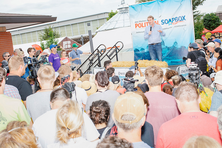 Democratic presidential candidate Michael Bennet speaks at the Political Soapbox at the Iowa State Fair in Des, Moines, Iowa, on Sun., Aug. 11, 2019.