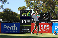 Sebastian Heisele (GER) in action on the 10th during Round 1 of the ISPS Handa World Super 6 Perth at Lake Karrinyup Country Club on the Thursday 8th February 2018.<br /> Picture:  Thos Caffrey / www.golffile.ie<br /> <br /> All photo usage must carry mandatory copyright credit (&copy; Golffile | Thos Caffrey)
