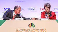 SAO PAULO, SP, 13 DE MAIO 2013 - ENCONTRO BILATERAL - BRASIL - ALEMANHA - O governador de São Paulo Geraldo Alckmin e a presidente Dilma Rousseff  durante cerimonia de abertura do encontro Econômico Brasil-Alemanha - EEBA 2013 no Hotel Sheraton WTC na região sul da capital paulista, nesta segunda-feira, 13. (FOTO: WILLIAM VOLCOV / BRAZIL PHOTO PRESS).
