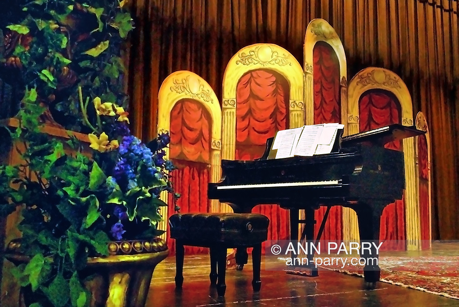 MERRICK, NY - February 21: Duelling Divas concert - starring opera sopranos Birgit Fioravante and Wendy Reynolds and pianist Heather Coltman - in comic opera concert presented by Merrick Bellmore Community Concert Association on February 21, 2010 at Merrick, NY. Stage with grand piano and setting before concert.