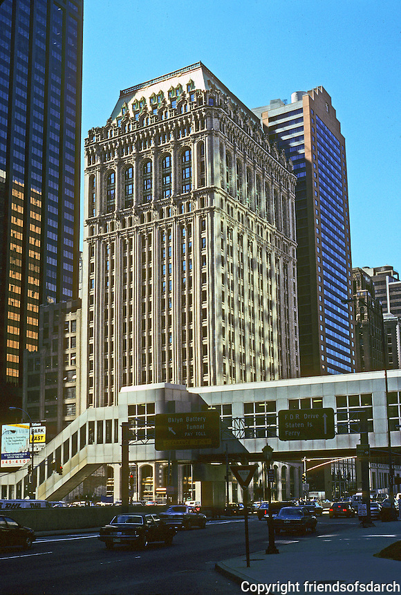 New York: 90 West St., 1907. Cass Gilbert, Architect. Originally Coal & Iron Building. Near Hudson River, S. of Battery Park City. Limestone and cast terra cotta. Photo '91.