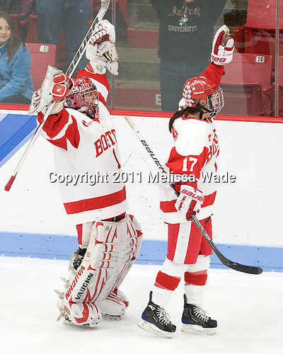 Kerrin Sperry (BU - 1), Catherine Ward (BU - 17) - The Boston University Terriers defeated the visiting Mercyhurst College Lakers 4-2 in their NCAA Quarterfinal matchup on Saturday, March 12, 2011, at Walter Brown Arena in Boston, Massachusetts.