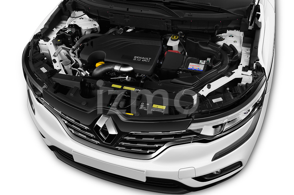 Car stock 2018 Renault Koleos Intens 4wd 5 Door SUV engine high angle detail view