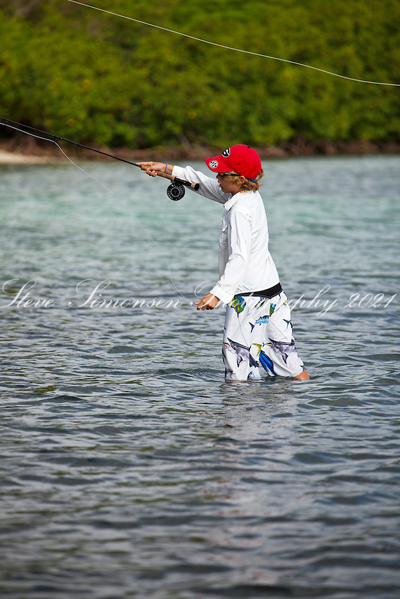 Evan Jones of Arawak Expeditions flyfishing.in the flats of Leinster Bay.St. John.U.S. Virgin Islands