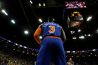 17th January 2019, The O2 Arena, London, England; NBA London Game, Washington Wizards versus New York Knicks; Tim Hardaway Jr of the New York Knicks prepares to pass the ball back into play