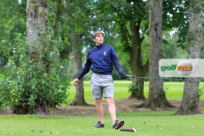 Paddy McDiarmid (Fortwilliam) on the 8th tee during the Ulster Final between Fortwilliam and Warrenpoint in the AIG Jimmy Bruen Shield at Portadown Golf Club on Friday 14th August 2015.<br /> Picture:  Thos Caffrey / www.golffile.ie