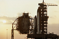NASA Space Shuttle Columbia STS 5 on the launchpad at sunset prior to it's 7:19 AM launch the following morning, November 11th 1982.