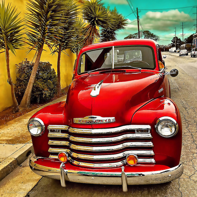 Fabulous red Chevrolet in USA street scene