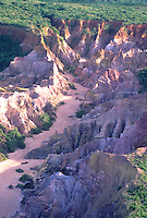 Erosion caused by deforestation, Roraima State, Amazon rain forest, Brazil.