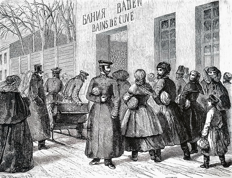 An engraving depicting a Saturday outside the St Petersburg public baths. Dated 19th century