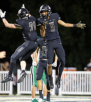 VAN BUREN VS BENTONVILLE  -  Chaz Nimrod (5) and Trenton Kolb (21) celebrate Chaz's second touchdown of the game in the 2nd quarter at Tiger Stadium, Bentonville, AR, on Friday October 4 2019,   Special to NWA Democrat-Gazette/ David Beach