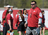 NWA Democrat-Gazette/ANDY SHUPE<br /> Arkansas coach Bret Bielema watches Saturday, April 1, 2017, during practice at the university practice field in Fayetteville. Visit nwadg.com/photos to see more photographs from practice.