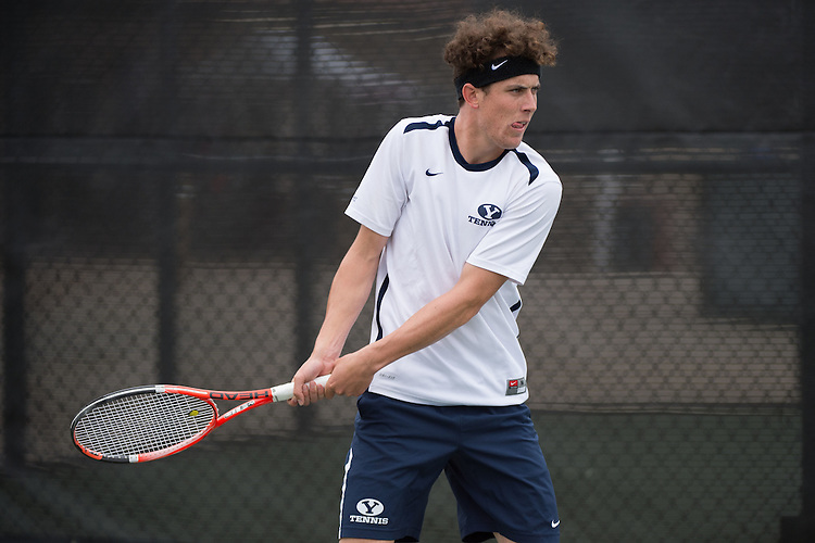 April 22, 2015; San Diego, CA, USA; BYU Cougars tennis player Francis Sargeant during the WCC Tennis Championships at Barnes Tennis Center.