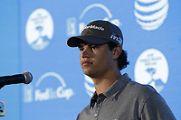 Beau Hossler (USA) press conference joint leader on -12 at the end of Friday's Round 2 of the 2018 AT&amp;T Pebble Beach Pro-Am, held over 3 courses Pebble Beach, Spyglass Hill and Monterey, California, USA. 9th February 2018.<br /> Picture: Eoin Clarke | Golffile<br /> <br /> <br /> All photos usage must carry mandatory copyright credit (&copy; Golffile | Eoin Clarke)