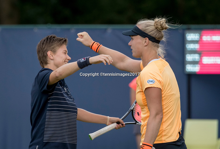 Den Bosch, Netherlands, 16 June, 2017, Tennis, Ricoh Open,  Women's doubles: Kiki Bertens (NED) (R) /Demi Schuurs (NED) celebrate their win<br /> Photo: Henk Koster/tennisimages.com