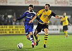 2015-10-17 / voetbal / seizoen 2015-2016 / Lille - Nijlen / Een duel om de bal tussen Jens Dijck (l) (Nijlen) en Kurt Rombouts (r) (Lille)