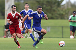 13 January 2015: Ramon Martin Del Campo (UC Davis) (right) and Sagi Lev-Ari (Cal State Northridge) (ISR) (left). The 2015 MLS Player Combine was held on the cricket oval at Central Broward Regional Park in Lauderhill, Florida.