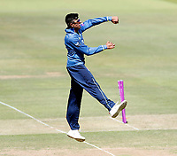 Imran Qayyum celebrates after taking the wicket of Tom Alsop during the Royal London One Day Cup Final between Kent and Hampshire at Lords Cricket Ground, London, on June 30, 2018
