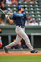 Right fielder Willie Abreu (6) of Asheville Tourists bats in a game against the Greenville Drive on Wednesday, May 3, 2017, at Fluor Field at the West End in Greenville, South Carolina. Greenville won, 8-0. (Tom Priddy/Four Seam Images)