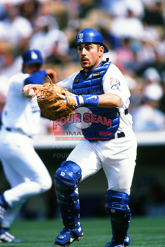 Paul LoDuca of the Los Angeles Dodgers during a game at Dodger Stadium circa 1999 in Los Angeles, California. (Larry Goren/Four Seam Images)