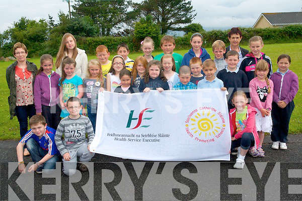 Douglas National School have officially raised their HSE Health Promoting School Flag which proves their school's success at promoting positive physical, mental and emotional health. <br /> Front L-R Gary Prendergast, Ben O'Dwyer, Leila Bujakova, Emma Hurley, Mattie Howarth, Dylan Flynn, and Aine Nash Freeman. <br /> Middle L-R Ellie Costello, Katie Howarth, Lily Sue Eyers, Louisa von der Geest Moroney, Olivia Moriarty, Michelle Carr, Dan Dwyer, Colin Griffin, Tegan Kingdon and Shauna Sheehan. <br /> Back L-R Kay Devane (teacher), Sasyka von der Geest Moroney, Brian Purcell, Ben Mangan, Jane Carr, Michael Teahan, Aoife Nash Freeman, Colm Kingdon, Dolores Johnston (principal) and Edel Griffin.