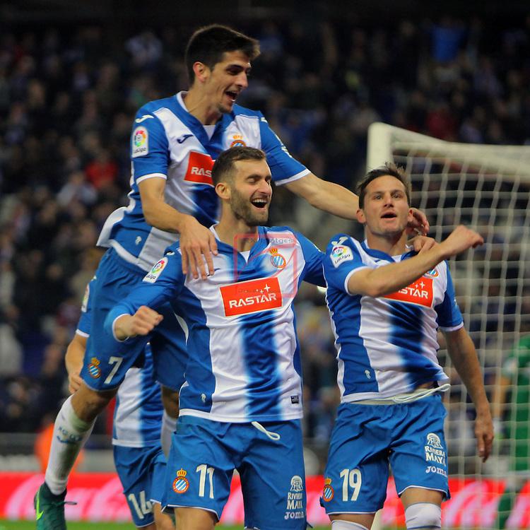 League Santander 2016/2017. Game: 13.<br /> RCD Espanyol vs CD Leganes: 3-0.<br /> Gerard Moreno, Leo Baptistao &amp; Pablo Piatti.