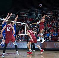 STANFORD, CA - March 2, 2019: Jaylen Jasper, Paul Bischoff, Jordan Ewert at Maples Pavilion. The Stanford Cardinal defeated BYU 25-20, 25-20, 22-25, 25-21.