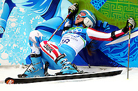 USA's Julia Mancuso of Olympic Valley, Calif., collapses against a wall after her second run in the women's giant slalom at the XXI Olympic Winter Games Thursday, February 25, 2010 in Whistler, British Columbia.