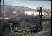 D&amp;RGW #488 K-36 at Sand Tower at Durango with McCoy Co Caterpillar Building in background.<br /> D&amp;RGW  Durango, CO