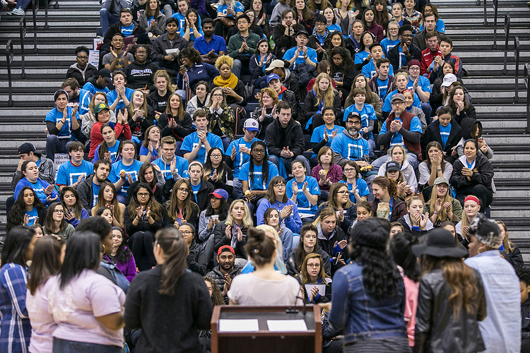 Members of the DePaul student a Capella group, Sounds of Harmony, perform for students, staff and faculty in the McGrath-Phillips Arena Saturday, May 6, 2017, during a rally before the 19th annual Vincentian Service Day. More than 1,500 students, staff, faculty and alumni fanned out across the Chicagoland area to volunteer at community organizations during the annual day of service. Vincentian Service Day (VSD) began in 1998 as part of DePaul's Centennial celebration and 2017 marks the 400th anniversary of the Vincentian Mission. (DePaul University/Jamie Moncrief)