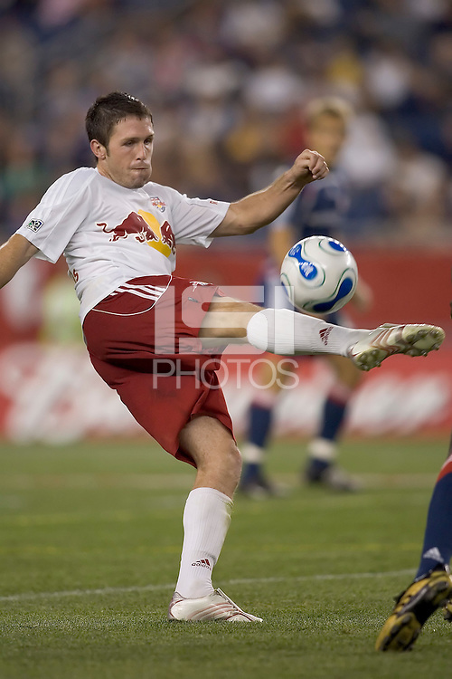 Danny O'Rourke volleys a pass. NE Revolution defeat New York Red Bulls, 1-0, at Gillette Stadium on Sept. 9, 2006.